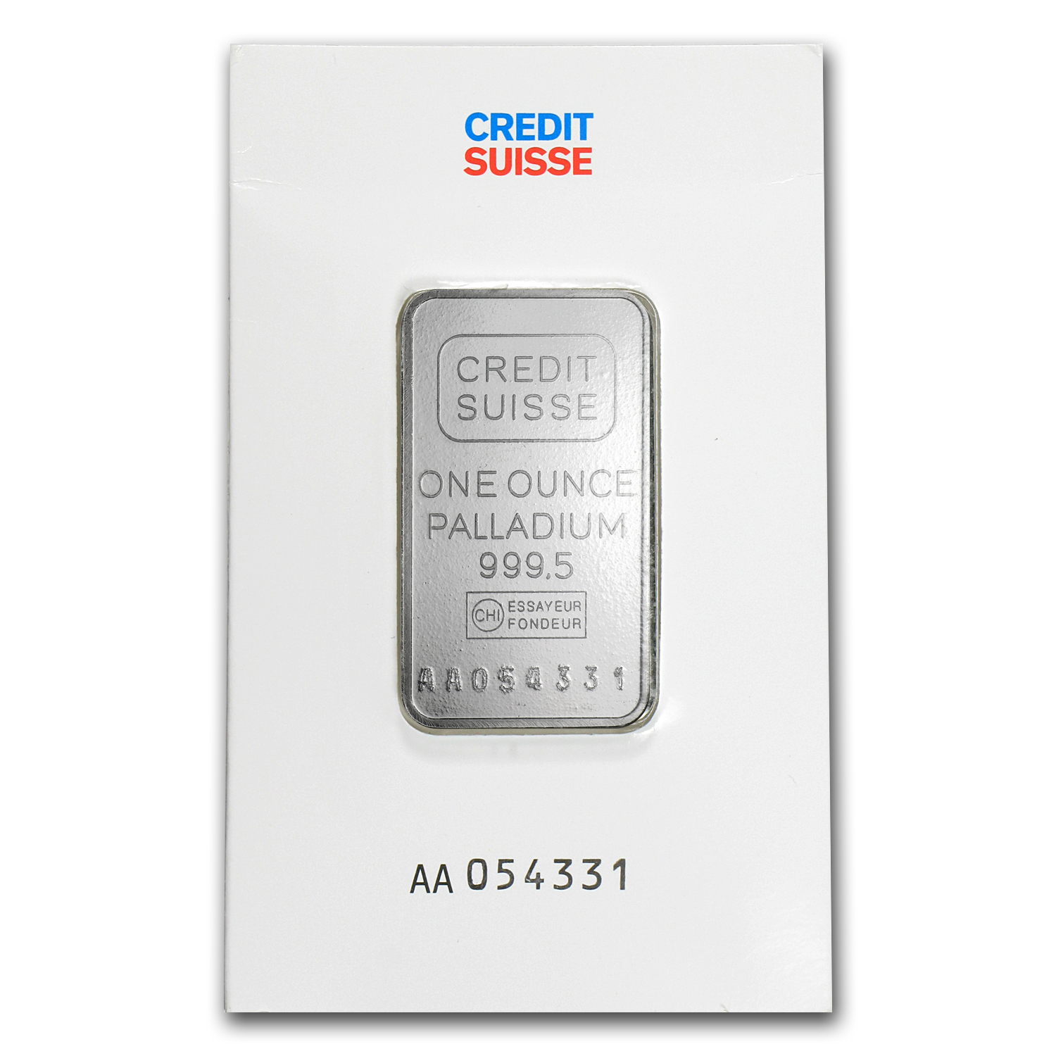 1 oz Palladium Bar - Credit Suisse (In Assay, .9995 Fine)